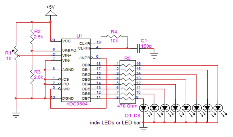 ADC Breadboard Components Circuit Diagram